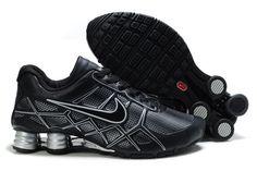 Nike Shox Turbo+ 12 Leder Männerschuhe Schwarz Silber
