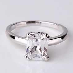 3CT Perfect Emerald Cut Russian Lab Diamond Engagement Promise Wedding Anniversary Ring Size 6