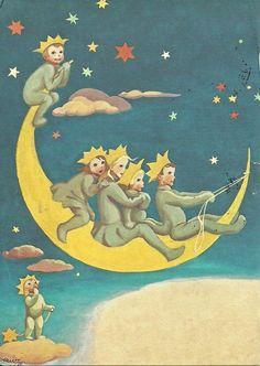 Projek Satu Dunia (One World Project)™: Martta Wendelin Sun Moon Stars, Sun And Stars, Luna Moon, Look At The Moon, Moon Images, Paper Moon, Good Night Moon, Star Children, Vintage Children's Books