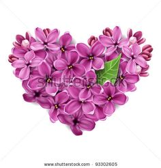 Lilac Flower Tattoo | Flowers: Flowers of a lilac in the form of a heart. An illustration on ...