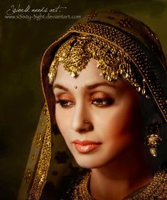Indian Queen by on DeviantArt Indian Wedding Bride, Queen Art, Royal Jewelry, Arabian Nights, Photography, Beauty, Color, Bollywood, Women