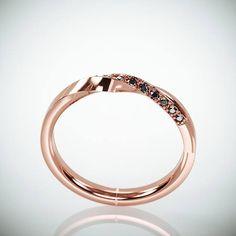 14k Rose Gold Mubius Ring set with Black Diamonds Black