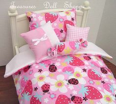 AMERICAN GIRL Doll Bedding 5 Pc Set for 18 by TreasuresDollShoppe,