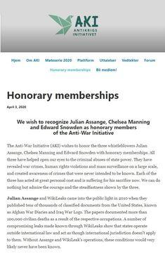 2020 Apr Julian Assange, Chelsea Manning & Edward Snowden awarded honorary memberships of AKI (Anti War Alliance) Norway Chelsea Manning, Edward Snowden, Norway, Articles, Platform