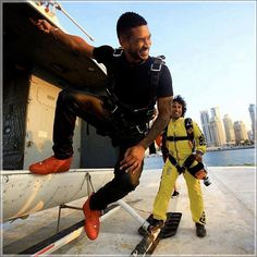 Global entertainment icon Usher Raymond IV after his tandem skydive at Skydive Dubai Palm DZ during the World Parachuting Championship Mondial 2012. #SkydiveDubai Source: fb.com/usher