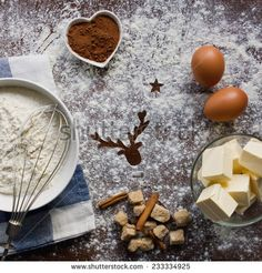 Ingredients for homemade christmas cookies - stock photo