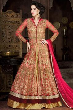 Net Carrot Pink Wedding Anarkali Suit With Skirt. Robe Anarkali, Long Choli Lehenga, Costumes Anarkali, Choli Dress, Lehenga Suit, Lehenga Style, Lehenga Choli Online, Salwar Kameez Online, Silk Lehenga