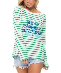 Love this Green & White 'Shoes Champagne Sunshine' Long-Sleeve Tee on #zulily! #zulilyfinds