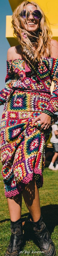 Boho Festival Style such a vibrant dress... ~ FROM COACHELLA 2016
