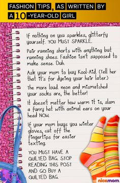 Fashion Tips, As Written by a 10-Year-Old Girl