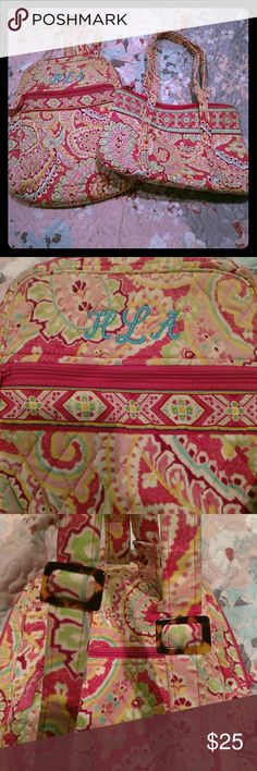 Vera Bradley small backpack and small bag Vera Bradley small back pack and small zipper bag. Both used, but in good condition. Small backpack has HLA embroidered on the front. Both have a ton storage. I think the pattern is called Capri Melon. Vera Bradley Bags Backpacks