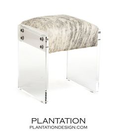 Salvador Cowhide & Lucite Stool  I would like to use white linen or nubby fabric