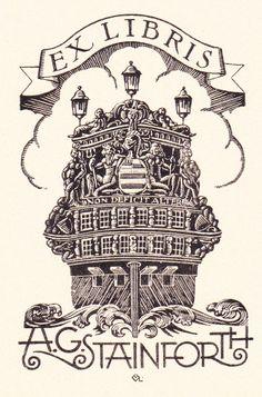 Ex Libris by André Vlaanderen Scratchboard, Dutch Artists, Wood Engraving, Vintage Prints, Bookmarks, Engineering, Symbols, Stamp, Illustrations