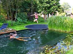 Pool disguised as pond with in ground trampoline as a faux diving board! how fun is that!not fond of pond pool but love trampoline idea! In Ground Trampoline, Sunken Trampoline, Trampoline Ideas, Garden Trampoline, Trampoline Swing, Trampoline Cake, Trampoline Basketball, Diving Board, Trampolines