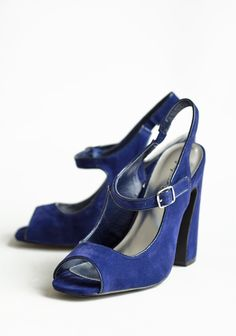 "Moonlight Lagoon Open Toe Heels 37.99 at shopruche.com. A sculptural heel imparts modern artistry to these wonderfully textured navy blue heels with a charming peep toe, an adjustable ankle strap, and an elasticized heel for a comfortable fit.All man-made materials, Slightly padded footbed, 4.75"" heel"