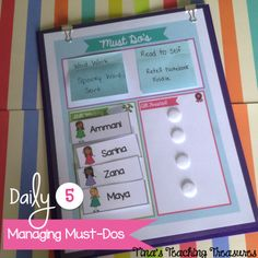 Tips for managing differentiated 'must do' tasks for Daily 5 or literacy centers! *freebie!* from Tina's Teaching Treasures!