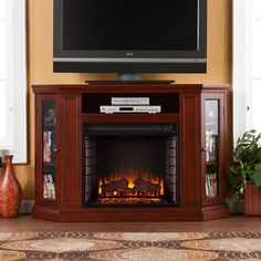 Boston Loft Furnishings Aldan Corner Media Console with Electric Fireplace
