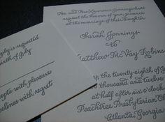 letterpress caligraphy invitation