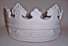 Crown candle holder terracotta with white by TheVintageBrush1, $30.00