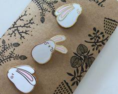 Mini bunny collar pin set by kushkush on Etsy