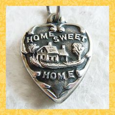 1940's Home Sweet Home puffy heart sterling charm ~ engraved Dad. So sweet!