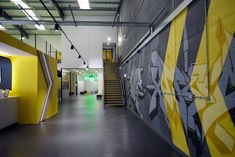 Jump Extreme trampoline centre – hand-painted chevron graphical graffiti piece for the reception area  #graffiti #handpainted #sportsmural