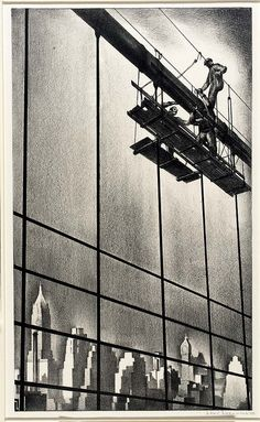 Through Brooklyn Bridge Cables (1938) by Louis Lozowick (American 1892-1973)