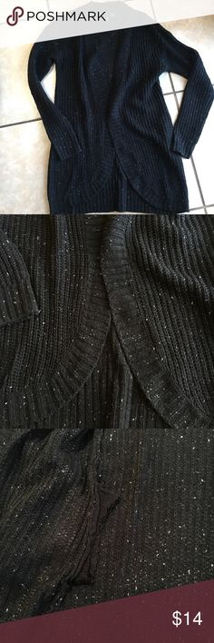 """Like New Open-Front Sweater Cardigan I SHIP WITHIN 24 HOURS!! Open-front cardigan, material is black with white """"specks"""" knitted throughout. Worn once, cut the pockets out and sewed them up because they made the cardigan too bulky at the hips. See picture, but cannot be seen when worn, 100% acrylic, size XS, approx 32"""" long, 22 in"""" across, can also fit a size small Ultra Flirt Sweaters Cardigans"""