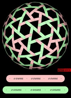 Geodesic rotegrity, or nexorade, based on tessellation of the icosahedron 60 red bands 60 green bands Using these dimensions will produce a sphere of unit (1.000000) radius (Also, see Straps 2v{0,2...