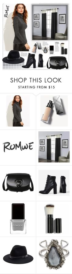 """Romwe.Black Turtleneck Ribbed Sweater"" by natalyapril1976 ❤ liked on Polyvore featuring Burberry, KENNY, Context, Chantecaille, Sole Society and Alexander McQueen"