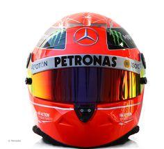 The 2012 helmet of Michael Schumacher of the Mercedes AMG Petronas Formula 1 team #F1.