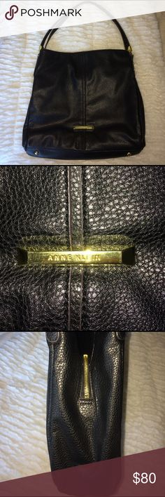 ANNE KLIEN PURSE 💕 Almost new . Used for a month . Little to big for my style . Large ANNE KLIEN PURSE. black and gold buckles . Three separate compartments. Clean insides .  14 inches across x 15 inch down .21 inch Drop length with strap. Wrapped and shipped with care . Anne Klein Bags Shoulder Bags
