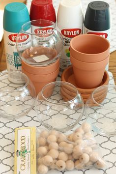 clay pots terra cotta candy dish four ways Clay Pot Projects, Clay Pot Crafts, Easy Christmas Crafts, Easter Crafts, Kids Christmas, Christmas Candy, Candy Jars, Candy Dishes, Diy Gumball Machine