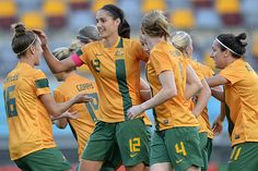 """The Australian women's soccer team """"The Westfield Matilda's"""". Head Coach: Alen Stajcic, Captain: Clare Polkinghorne. The Australian Women's Soccer Association (AWSA) was founded in 1974. A National Team made up primarily of players from NSW & WA was sent to the 1978 inaugural World Women's Invitational Tournament in Taipei, Taiwan."""