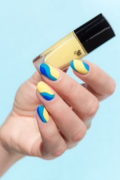 Yellow nails with Ocean Waves!