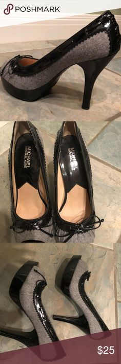 Sexy Peep Toe Michael Kors heels. Sexy heels with a bow.  Great condition with a minor scuff.  I tried to capture in the photo, but it is so minor it's extremely hard to see KORS Michael Kors Shoes Heels