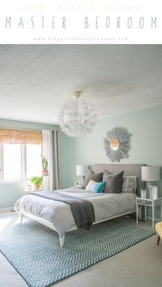 Calm, Layered and Minimal Master Bedroom Reveal with lots of DIY projects! #Masterbedroom