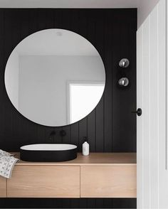 """STUDIO BLACK INTERIORS on Instagram: """"My love for black cladding never ends....so divine when paired with the warmth of timber. And how lovely is that black and white basin 😍 …"""" Romantic Home Decor, Quirky Home Decor, Easy Home Decor, Home Decor Styles, Cheap Home Decor, Home Decor Accessories, Interior House Colors, Home Interior Design, Remodeling Mobile Homes"""