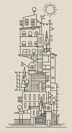 architectural illustrations, line drawings, scott hill, building illustration, illustration houses, doodl, ink drawings, city illustration, line art