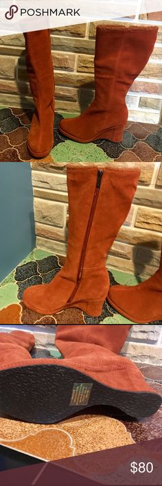 Burnt orange suede boots Definitely unique burnt orange color suede boots new never worn . Has wedged heel . Just a beautiful addition to any closet ❤️❤️ Colin Stuart Shoes Wedges