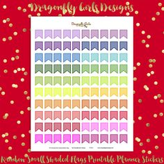 DIY Rainbow Small Shaded Flags Organizational 100 Printable Planner Stickers pdf Erin Condren Kate Spade Kikkik Filofax Mambi