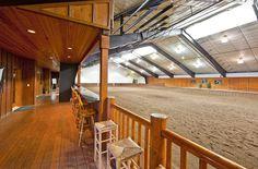 World-class equestrian estate Ellensburg, Washington - indoor arena viewing area Dream Stables, Dream Barn, Horse Stables, Horse Farms, Equestrian Stables, Barn Layout, Horse Barn Designs, Horse Arena, Indoor Arena