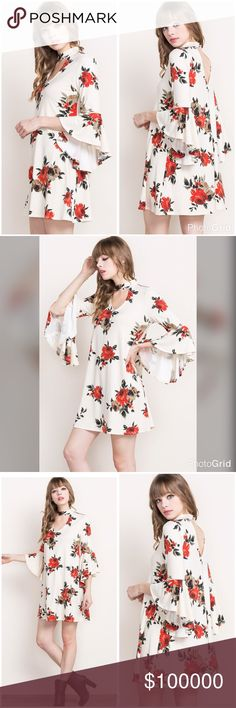 Stunning ivory bell sleeve floral cut out dress! Gorgeous detail in a high quality fabric floral print, this beauty boasts a 3 qtr bell ruffle sleeve chocker style collar and front and back top cut outs! Dresses