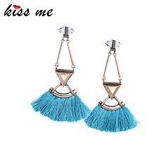 Kiss Me Brand Red Blue Rope Tassel Earrings Fashion Jewelry Ethnic Women Accessories Dangle Earrings