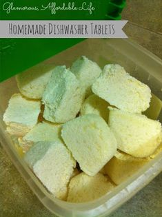 Glamorous, Affordable Life: { Homemade Dishwasher Tablets } After successfully making detergent, i'm feeling up to the challenge! Homemade Cleaning Products, Cleaning Recipes, Natural Cleaning Products, Cleaning Hacks, Cleaning Supplies, Emergency Supplies, Natural Products, Cleaners Homemade, Diy Cleaners