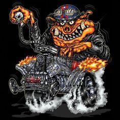 Adult Unisex T Shirt Cartoon Hot Rod Pig 17935