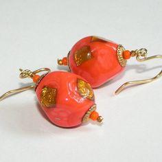 Chinese Lanterns Vintage Glass Foil Earrings