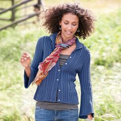 DEMI-CABLE CARDIGAN from Sundance Catalog.  THis is in a silk/cotton and rayon blend.  Love the way the cables create a belled sleeve.