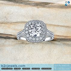 Cushion Cut Double Halo Engagement Ring in 18K White Gold                                                                          #b2cjewels #b2cjewelsdiamonds #engagementring #weddingring #rings #cushioncut