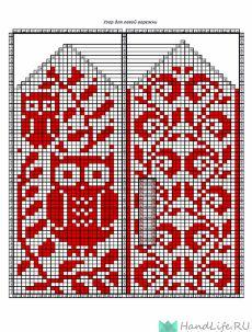 handlife.ru Knitted Mittens Pattern, Crochet Socks, Knit Mittens, Mitten Gloves, Knitted Hats, Knit Crochet, Cross Stitch Owl, Cross Stitch Designs, Knitting Charts